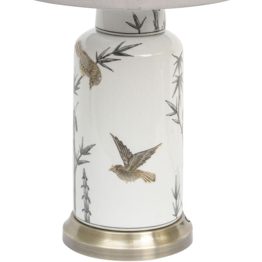 Bunting Bird Gilded Ceramic Lamp with Shade
