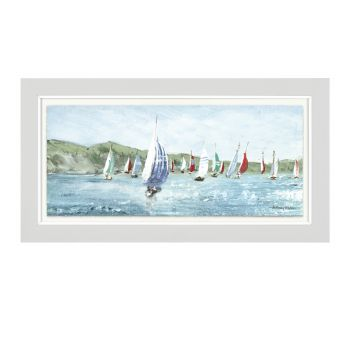 Art Marketing Expedition Print FAC1WKT30019. This deluxe glazed framed print with foil is an excellent piece of art. Featuring stunning of boats at sea, this art would be perfect for someone who loves the ocean!