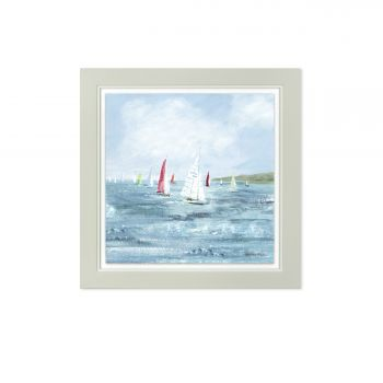 Art Marketing Making Headway Print FAC1WKT30041. This deluxe glazed framed print is an excellent piece of art. Featuring stunning of boats at sea, this art would be perfect for someone who loves the ocean!