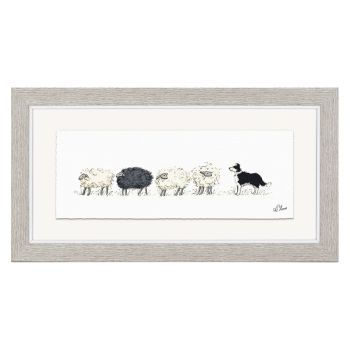 Art Marketing Counting Sheep Print FAB1AKT10020. Artist Angie Thomas creates gorgeous imagery in this glazed framed print. Enjoy the fun view of a sheepdog herding some sheep in this print.