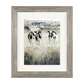 Art Marketing Chatter Print FAB2FKO10060. Artist Adelene Fletcher creates gorgeous imagery in this glazed framed print. Enjoy the fun view of some cows in the countryside in this print.