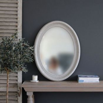 Biggie Best Lisbon Oval Mirror. Dusky grey oval mirror 1-1007/BG. Add a touch of luxury to your home with this beautiful vintage mirror. Hang this mirror above your mantelpiece or in your bedroom! Will create instant light and open up your room beautifully.