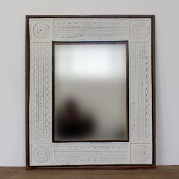 Biggie Best Morocco Mirror 15B6536. A beautiful and decorative mirror with an elegant wooden frame and embossed metal detailing. Hang this mirror above your mantelpiece or in your bedroom! Will create instant light and open up your room beautifully.