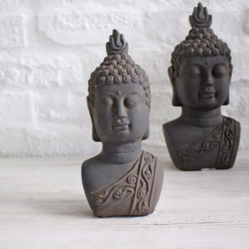 Biggie Best Small Ebony Buddha Ornament 9322F022. Our beautiful Buddha ornaments are crafted from cement and individually unique, perfect for indoor or outdoor use. Add a taste of the east to your home!