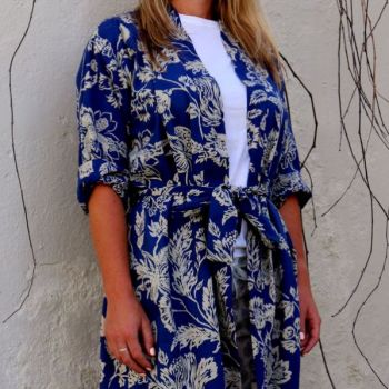Biggie Best Mitza Indigo Dressing Gown GOWN/01. A gorgeous indigo dressing gown. Comes in a delightful gift bag.