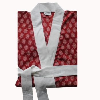 Biggie Best Hindi Red Dressing Gown gown/04. A gorgeous red dressing gown with white trim. Comes in a delightful gift bag.