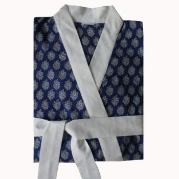 Biggie Best Hindi Indigo Dressing Gown GOWN/05. A gorgeous indigo dressing gown with white trim. Comes in a delightful gift bag.