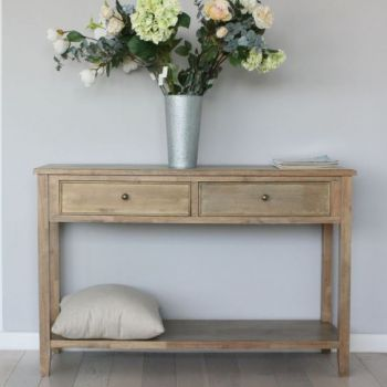 Biggie Best Tetbury Natural Console Table This stylish natural wood console table would fit wonderfully into a traditional hallway.