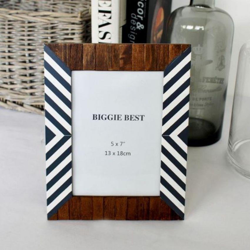 Biggie Best Wood with Grey Stripe Photo Frame