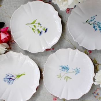 Biggie Best Flower Dinner Plates W560942FLW. These gorgeous ceramic dinner plates have a fantastic scalloped edge. Available as a set of four, these plates each have their own unique flower as decoration.
