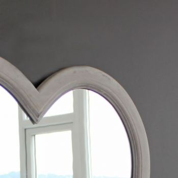 New mirror. Mirror for bedroom. Mirrors sale. Heart mirrors. Grey mirror. Grey Wash Heart Mirror  yx16-8505 A beautiful, decorative mirror with an elegant wooden heart shaped frame. We would hang ours in a bedroom or bathroom. justtrio just trio biggiebest biggie best