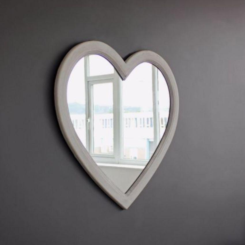 Grey Wash Heart Mirror