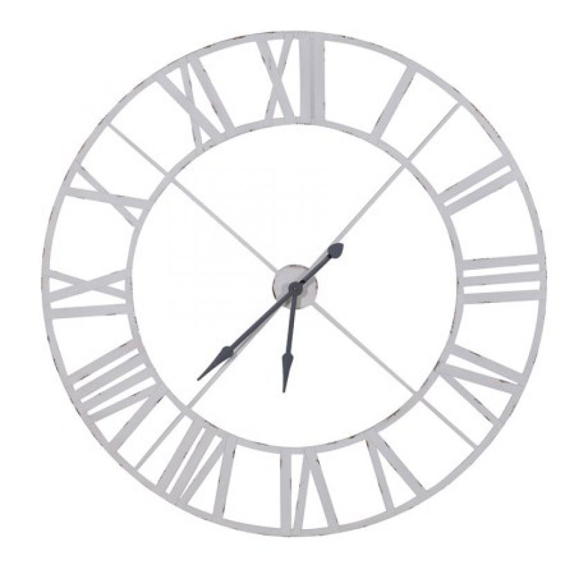 White Metal Outline Skeleton Clock