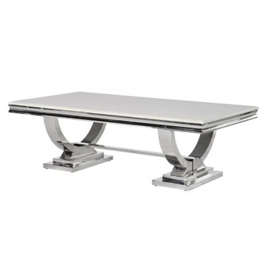 Marble & Stainless Steel Coffee Table