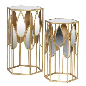 Side tables. Unique side tables. Tables for home. Table sale. Furniture sale. Set of Two Teardrop Mirror Side Tables FBA048 These side tables are excellent companions to your home. With a distressed gold finish and gorgeous mirrored teardrops surrounding them, both look stunning and unique. justtrio just trio coachhouse coach house