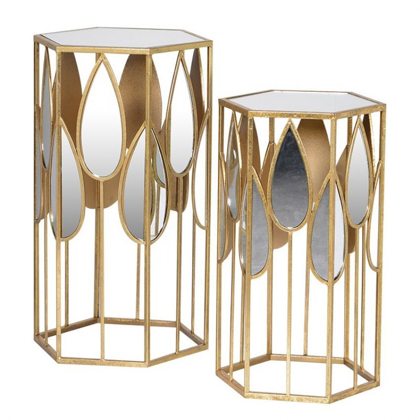 Teardrop Mirror Side Tables