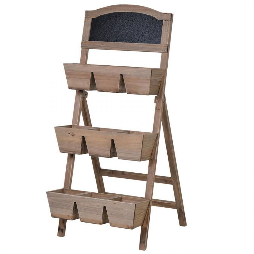 Wooden Shelves With Blackboard