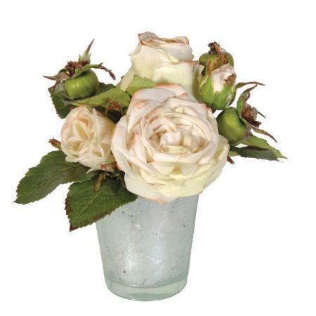 Cream/Green Roses Flowers in Glass Tumbler