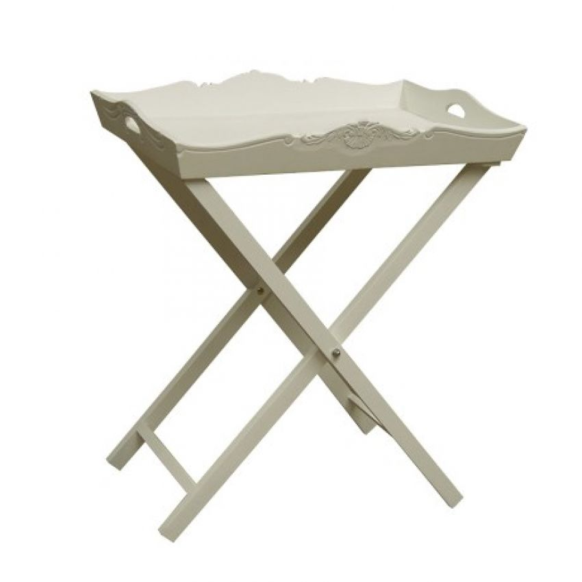 White Painted Tray With Stand