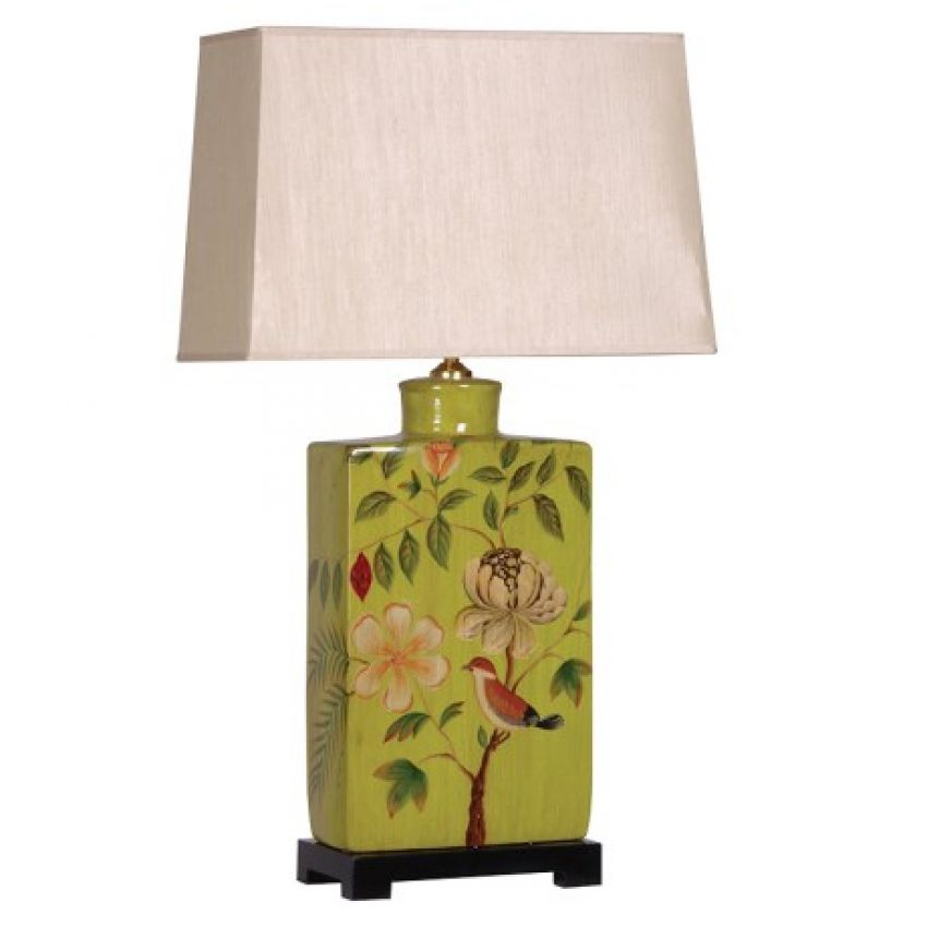 Square Green Decorated Lamp With Shade