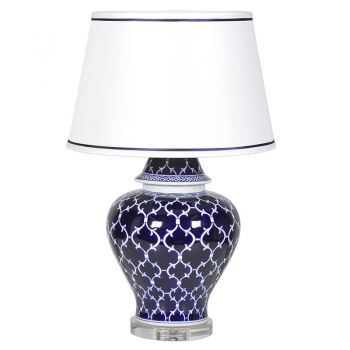 New lamp. Blue lamp. Lamp sale. Lamp with shade. Living room lamps. Nice lamps. Jar Lamp with Crystal Base JNC195 This beautiful lamp will look perfect in both a traditional or modern home; it would be great as a feature lamp. The blue patterned base is of remarkable quality and holds the eyes of all onlookers! justtrio just trio coachhouse coach house