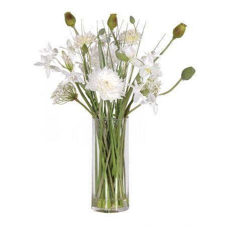 White Mixed Garden Flowers in Glass Vase