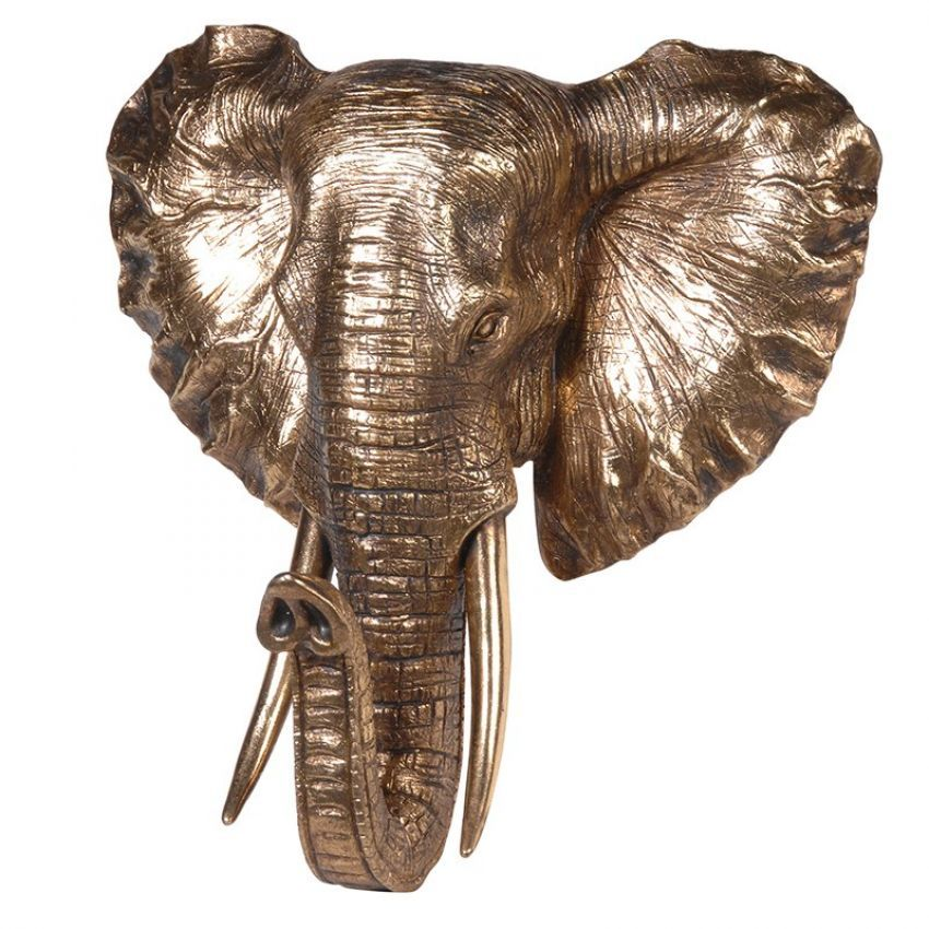Golden Elephant Head Wall Mount