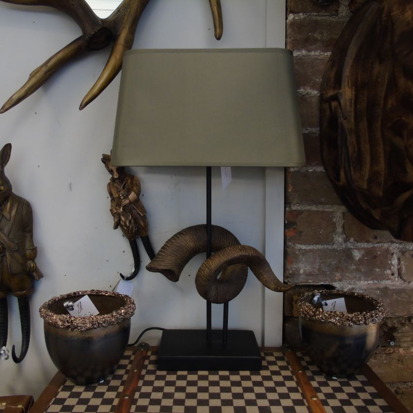 Ram's Horn Lamp With Shade