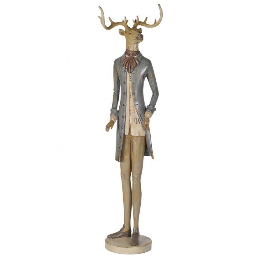 Standing Deer in Franklin Shoes and Grey Coat