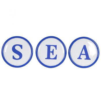 Sea Wall Letters STN1246. Perfect for a cosy seaside cottage, these sea wall letter decorations set will look tremendous. The glossy blue letters and edging is reminiscent of the ocean and will catch the eyes of all visitors. Hang however you please!