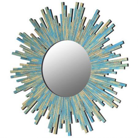 Turquoise Sunburst Mirror