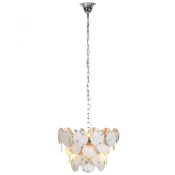 Circular Marble Look Ceiling Light CAV020. The detailed shades on this chandelier have an excellent marble effect. The light shining through brings excellent, soft light into your room.