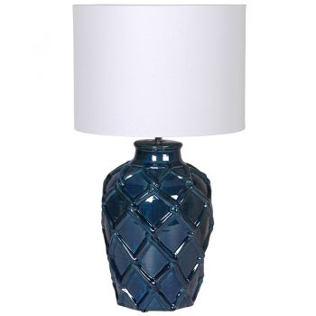 Deep Blue Rope Pattern Ceramic Table Lamp CDL008. This nautical inspired lamp comes with an off-white linen shade. Wonderful to sit in your conservatory or living room!