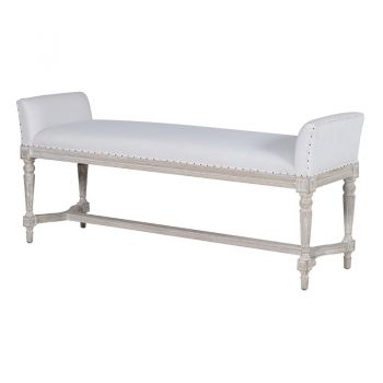 Distressed White Bench CTC057. A beautifully padded white bench with soft, distressed legs. Excellent for a hallway. Perfect for a long hallway.
