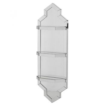 Mirrored Shelf Wall Unit ECR300. This mirrored wall unit comes with three shelves, perfect for a bathroom or bedroom. A stunning feature piece that will stand out wonderfully in your home.