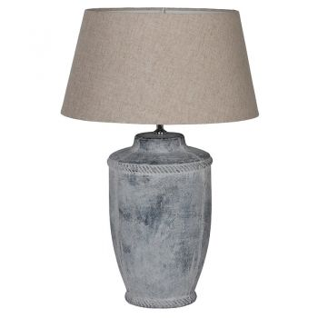 Antique Finish Lamp with Neutral Linen Shade FLM019. The heavy distressed base of this lamp is a gorgeous piece. The distressed stone has a fantastic antique feel and the shade suits beautifully.