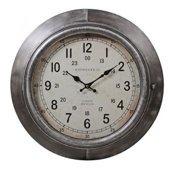 Antique Silver Wall Clock FZZ037. This antique wall clock has a gorgeous distressed silver finish frame. With the antique look, it brings a traditional feel to your home.