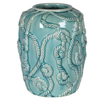 Sea Green Ceramic Rope Vase HSH102. A delightful sea green vase with nautical ropes wrapping around as detail. Great for a conservatory or a house overlooking the sea!
