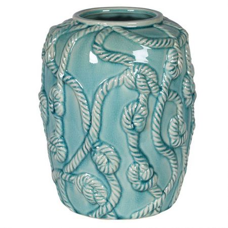 Sea Green Ceramic Rope Vase