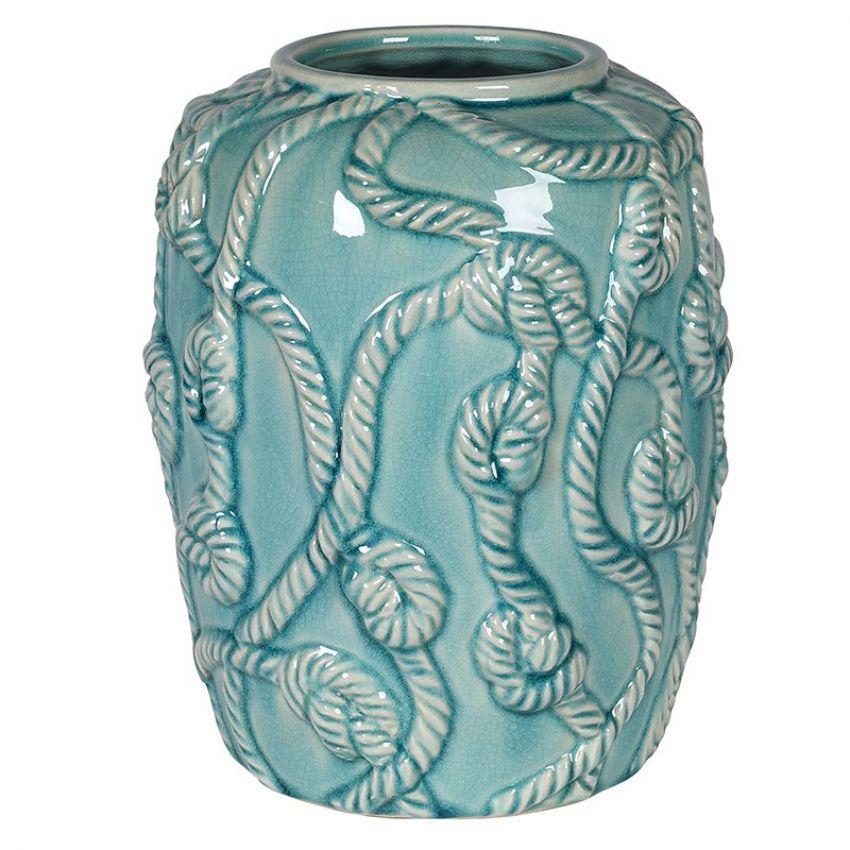 Sea Green Ceramic Rope Vase
