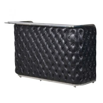 Black Leather Buttoned Bar HZH319. This bar is made with top grain leather with buttoned detail that makes it a true statement piece.  A gorgeous black leather buttoned bar.