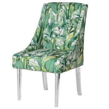 Tropical Print Dining Chair with Acrylic Legs HZS006. These dining chairs add stunning personality to your dining room. Great to have in a calm room to show them off. The tropical print contrasts the silent acrylic legs wonderfully.