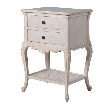 Honfleur 2 Drawer Bedside Table INT4064. Our gorgeous Honfleur bedside table stands beautifully in your bedroom. With intricate detail and a stunning finish, this will continue to be a standout piece.