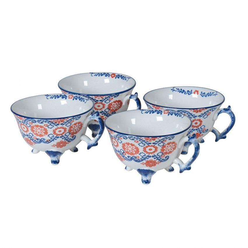 Set of 4 Blue and Red Patterned Teacups