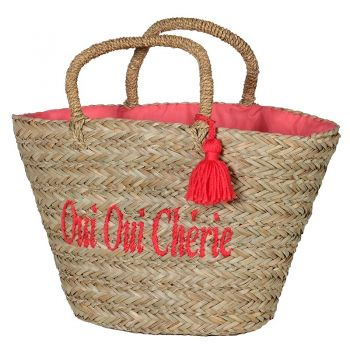 Oui Oui Cherie Basket Bag LSL006. 'Oui Oui Cherie' Basket Bag. This delightful basket bag would be perfect for a summer trip to the beach!