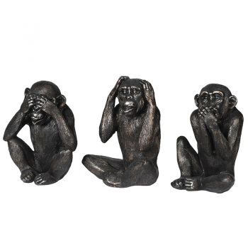 Set of 3 Black No Evil Monkeys NAN187. This fantastic set of three monkeys look brilliant in their 'No Evil' positions. Great for a mantel piece or sideboard.