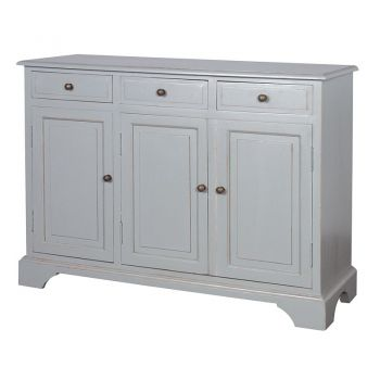 Grey Fayence 3 Door Sideboard NGA012. Our delightful Fayence sideboard would look fantastic in a hallway. Perfect for extra storage. The detailing looks absolutely magnificent.