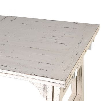 Whitewash Extending Dining Table NVW086. Our fantastic white-washed dining table has a beautiful distressed finish. With the ability to extend to double it's size, this would be fantastic to seat all of your relatives. A great table for a conservatory or sun room.