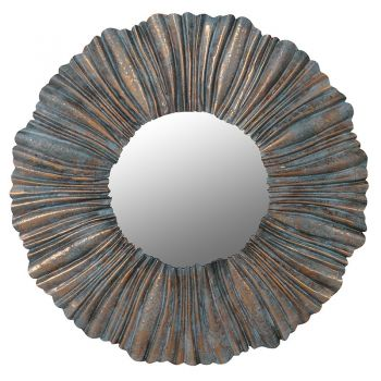 Pleated Wall Mirror PCE227. A fantastic metal wall mirror with a pleated edge design. Excellent to fill a large space in your bedroom or hallway!