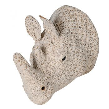 Small Crochet Rhino Head PMC006. Our gorgeous crochet rhino head is brand new and a stunning feature piece for your wall. A brilliant take on the traditional wall decorations. Soft and delightful! Perfect for a bedroom or living room.
